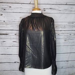 NWT Worthington Metallic High Neck Top